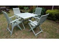 Beautiful Vintage solid x4 wood chairs + table + FREE parasol RRP £279