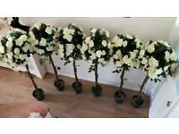 5 foot tall artificial rose tree- 6 available (ivory roses)