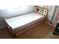 Ikea Kritter single child children's toddler bed storage mattress pine