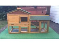 RABBIT HUTCH WITH RUN AND COVER (NOW SOLD)