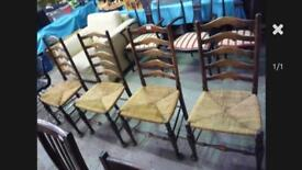 SET OF FOUR VINTAGE LADDER BACK CHAIRS WITH RUSH SEATS