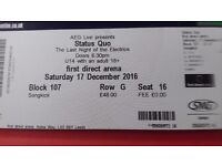 2 STATUS QUO tickets @ FACE VALUE of £48.