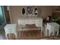 French Louis style stunning dressing table & 2 cabinets finished in Annie Sloane white paint £245