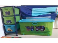 Kids Bedroom NEXT digger bundle. Curtains, duvet cover, rug, toy box, drawers and set of canvas.