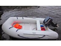 2.5m Inflatable Rib & 9.9HP 4 Stroke Yamaha Outboard Motor - c/w: Pump/Oars/Fuel tank + Owner Doc's