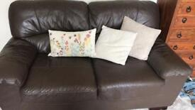 Brown 2-seater leather sofa