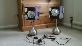2x bed side lamps and matching ceiling lampshade