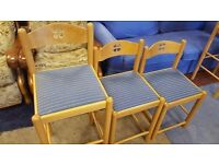 Three Matching Blue Fabric Pine Chairs of Different Heights in Great Condition