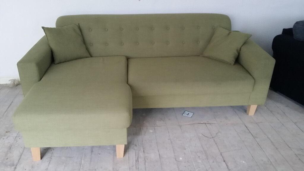 New Graded Small Corner Sofa Chaise Le Green Fabric Free Local Delivery