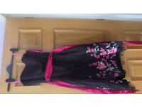Stunning Debut size 8 black dress with pink embroidery