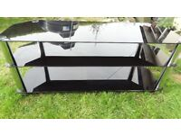 tv stand large glass 3 shelf in gloss black and chrome