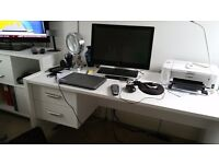 White computer desk excellent condition uncludes 2 storage drawers buyer to collect