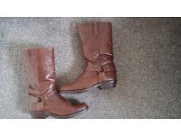 Womens Brown Biker Boots - Size 6 - Boho - Rock