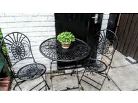 Wrought iron folding garden table 2 chairs