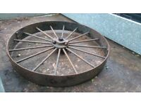 Large old Mill wheel metal garden feature