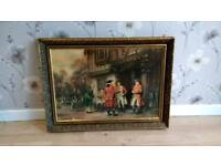 Fox hunting ,vintage print of painting by FM Bennett