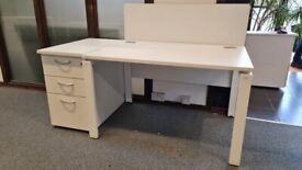 2 White single office/business/home office/computer/task desk/tables