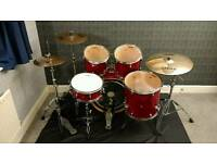 Mapex M drum kit complete with Sabian AAX cymbals