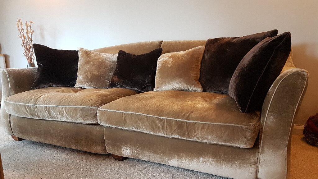 Luxurious 4 Seater Elise Sofa Gold Crushed Velvet Fabric