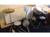 Black Mamber drum set (incomplete just missing kicker drum)