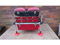 MULTI DRAWER OCTOPLUS FISHING TACKLE SEAT BOX CLIP ON BASE BAIL HOLDER GOOD USED CONDITION