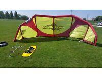 Kitesurfing kite and board