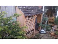 Handmade outdoor log wood store