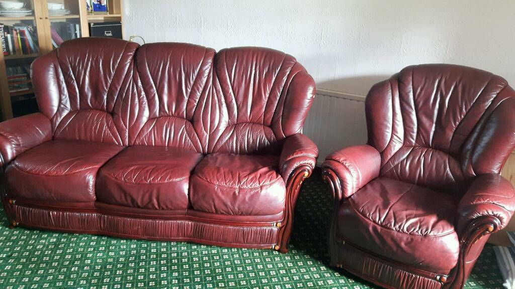 Leather sofa and 2 armchairs for salein FalkirkGumtree - Leather sofa and chairs. Very good condition. Occasionally used. Burgundy leather