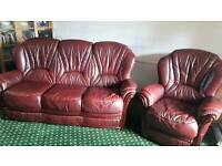 Leather sofa and 2 armchairs for sale