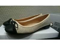 Head Over Heels By Dune Hascha Nude micro Fibre studded Ballerina Pump /shoe size 4