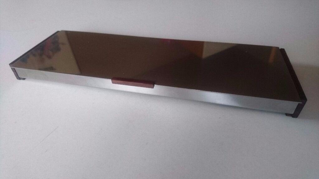 Vintage Mid Century Danish Design Stainless Steel Teak Slim Stylish Desk Tidy Jewelry Case Box Fab