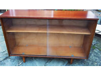 Display Cabinet / Bookcase With Two Sliding Glass Doors & Adjustable Shelf in Excellent Condition