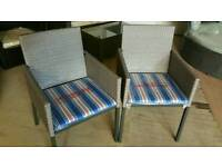 2 new rattan light grey chairs
