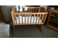 Pine Crib with mattress and sheets for sale