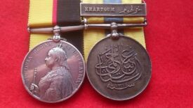 GENUINE VICTORIAN MEDALS - THE QUEEN'S SUDAN MEDAL AND THE KHEDIVE'S MEDAL FOR 'KHARTOUM' 1896 - 98