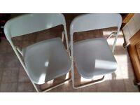 2 Ikea Fold Up White Plastic Chairs