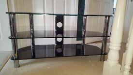 smoked glass 3 tier tv stand