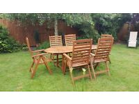 Hard wood 6 seat dining set .