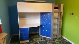 Cambridge High Sleeper Bunk/Cabin Bed With Desk and Warbrobe