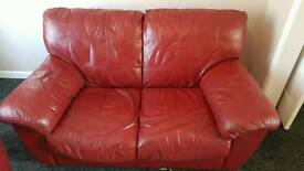 2×2seater sofa red leather