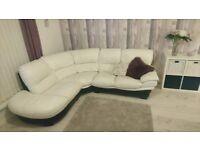 DFS White genuine real leather sofa corner suite