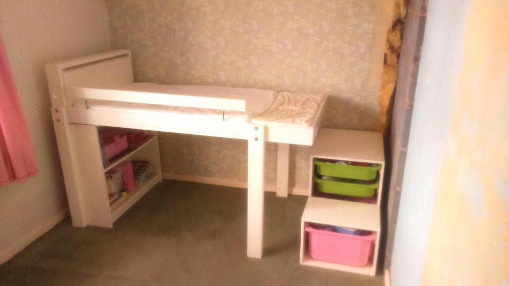 Child S Custom Ikea Vikare Mid Sleeper With Bookshelf And