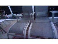4 Metal reclining garden chairs with 2 footstools