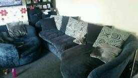 Shaped fabric 4 seater sofa and spinning chair & foot stool