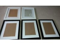 """5 PICTURE FRAMES (3 BLACK AND 2 WHITE) 12"""" X 16"""" (30cm by 40cm)"""