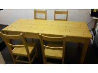 ANTIQUE PINE 6FT DINING TABLE AND CHAIRS
