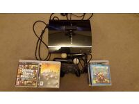 PS3 console + 1 controller+PS Eye + 2 ps move motion controllers + 22 games