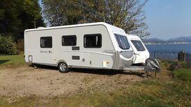 5/6 berth 2009 Hymer Nova-SL caravan with front lounge, centre dinette, bunk beds and bathroom