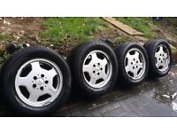"""Mercedes"""" AMG"""" Alloys with all very good tyres. 15 inch alloys .5×112"""