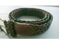 """Ralph Lauren Polo leather braided belt, brown, 90 / 36"""" 426070497-1FJ, genuine and brand new"""